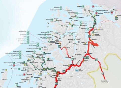 Kartet viser sjømattransporten i Troms. Grønt er fylkesveg, rødt er riksveg.