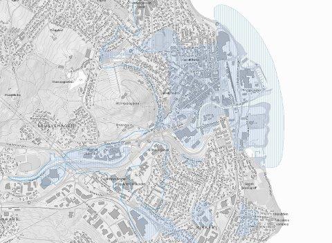 RISIKOSONE: Også i Gjøvik kan det være kvikkleire. Kartet viser hvor man må være forsiktig, fordi det er mulighet for sammenhengende forekomster av marine avsetninger i Gjøvik. Skjermdump fra NVE.