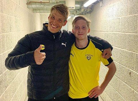 MÅLSCORERNE: Thomas Lehne Olsen (t.v.) og Eskil Edh scoret målene da LSK vant en sterk borteseier i Sarpsborg.