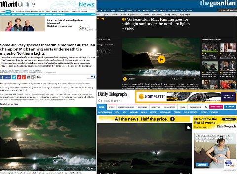 OPPMERKSOMHET: Nordlysbildet har fått massiv oppmerksomhet verden over. Her er utrag fra artikler i The Guardian, Daily Mail og Daily Telegraph