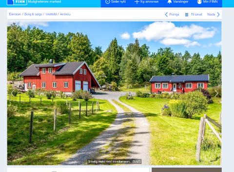 KAN BLI GRUVENABO: Småbruket som nå er lagt ut for salg i Kodal, har en prisantydning på nærmere fire millioner kroner. (Ill: Skjermdump fra Finn.no)