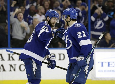 Tampa Bay Lightning right wing Nikita Kucherov (86) celebrates with center Brayden Point (21) after Kucherov scored against the Arizona Coyotes during the second period of an NHL hockey game Tuesday, March 21, 2017, in Tampa, Fla. (AP Photo/Chris O'Meara)