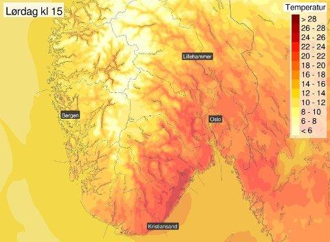 FØRST VARMT SÅ KALDT: I helgen er det meldt sommertemperatur og sol, men neste uke snur det helt om.