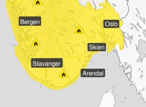 Meteorologisk Institutt har sendt ut farevarsel for store områder.