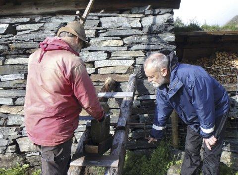 SLIPING: Slåttesjef Øystein Folden sliper ljåen, og Knut Løken drar slipesteinen.foto: Naturvern-forbundet
