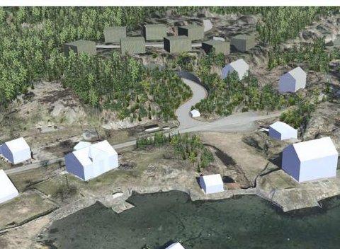 På en hØyde: De nye tomtene kommer i bakkant av eksisterende bebyggelse (med hvite tak) i Borøykilen. Illustrasjon: Sterk & Co