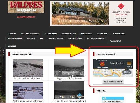 Forsiden av Valdresmagasinet.com
