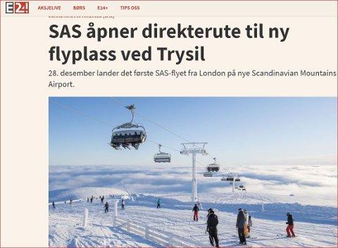 Ny charterflyplass: Leirin har fått sin arvtakar i Sälen, som ligg på svenskesida av grensa, rett aust for Trysil.