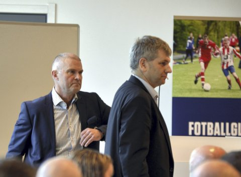 Leon Aurdal (til venstre) og kretsleder Tore-Christian Gjelsvik (til høyre) er uenige om maktfordelingen i norsk fotball.