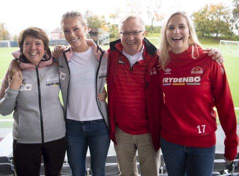 Da Mette Hammersland (til venstre) la merke til at Branns gatelag var dominert av menn, tenkte hun at kvinnefotballen kunne gjøre en forskjell. Som sagt, så gjort: Nå starter Sandviken opp et gatelag, der hovedfokuset blir å rekruttere kvinner. Her er Hammersland med gatelagstrener Ingrid Stenevik, nestleder i Sandviken Toppfotball Bjarne Graabræk og prosjektmedarbeider Linn-Marie Knudsen.