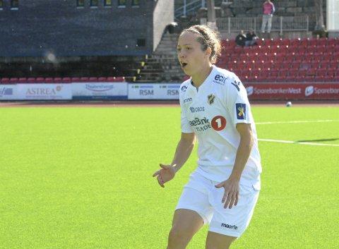 Glede: Stabæk ligger helt på bunn med tre poeng. Mot Arna-Bjørnar scoret bergenseren og tidligere Sandviken-spiller Melissa Bjånesøy sitt andre mål og lagets fjerde mål for sesongen og fikk dermed en slags opptur tross poengdeling. FOTO: Trond Gausemel, Hordalandsfotball