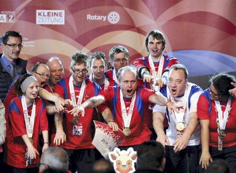 Special Olympics World Games er verdens største idrettsarrangement for mennesker med utviklingshemning. Her ser vi det norske innebandylaget under Special Olympics i Østerrike i 2017.