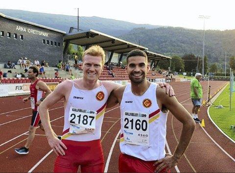 Mats Hauge (t.v.) kom inn til 3.57,25 på en engelsk mil (1609 meter) på Arna Idrettspark onsdag. Dermed slettet han Lars Ove Strømøs kretsrekord fra 1985, og Arne Hamarslands klubbrekord i Gular fra 1959. Jacob Boutera løp også under rekordene.