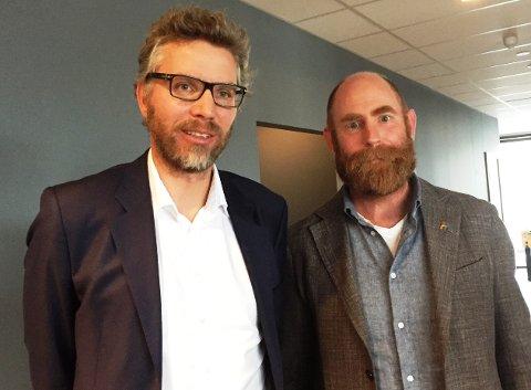 Bjørn Jacobsen(til venstre) fra advokatfirmaet Svensson Nøkleby inviterte advokat Halvor Frihagen til å snakke om homofiles rettigheter.