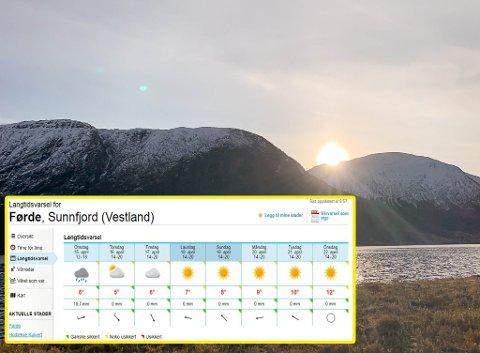 HO ER TILBAKE: Byen i Sunnfjord kan vente seg temperaturar opp mot 11 grader på det varmaste neste veke, ifølgje yr.no. Bildet er frå Jølster.