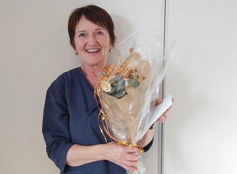 TAKKA AV: Aud Berge hadde sin siste arbeidsdag ved Eikelund omsorgssenter fredag 29. januar.