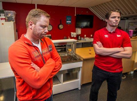 FFK styreleder Jostein Lunde og daglig leder Joakim Heier på Stadion fredag.