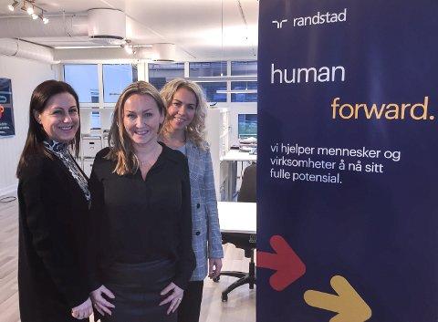 Arbeidsmiljøloven: Fra venstre Anne Borgaas, Kathinka Bergerud og Ann-Mari Nygaard i Randstad er bekymret for hva endringene i arbeidsmiljøloven vil si for de svakeste  arbeidssøkerne.