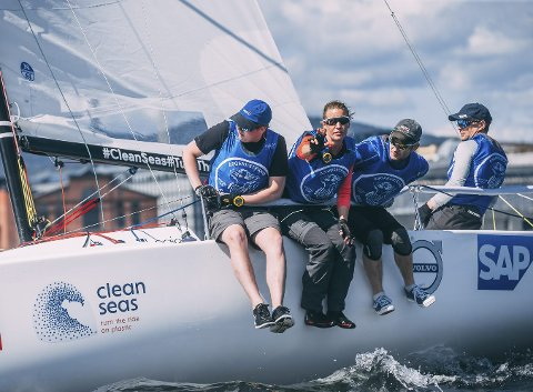 I toppen: Trym Markussen(f.v.), Karen Kristoffersen, Asbjørn Grødem og Jostein Grødem leverte en sterk sesongåpning i Seilsportsligaens eliteserie.