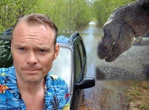 FORAN BIL – OG DINOSAUR: Denne bildemanipulasjonen er hentet og inspirert av filmen «Jurassic Park».