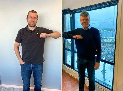 FORNØYD: Bjørn Tore Hagberg i SmartDok (til venstre.) og styreleder Arnstein Repstad. For anledningen på sine kontorer i henholdsvis Alta og Søgne.