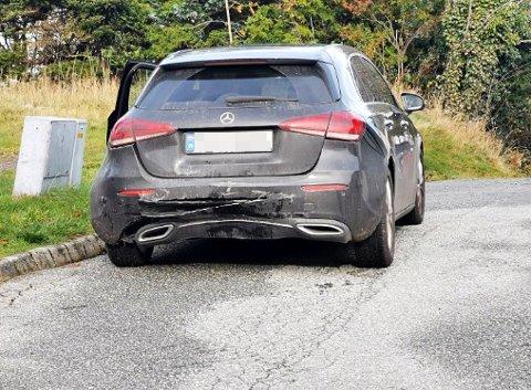 MINDRE SKADER: Den andre bilen fikk mindre skader i bakenden.