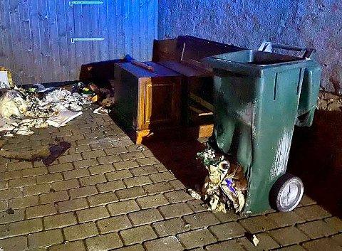 BLE OPPDAGET: Det begynte å brenne i en avfallsbeholder i portrommet ved en bar i Holmestrand sentrum natt til søndag.