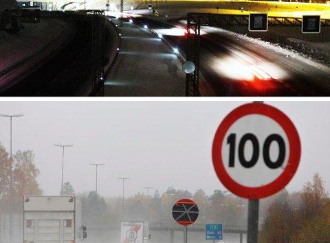 SENKES HER, OPPRETTHOLDES DER: Fartsgrensen på E6 fra Moss til Nordbytunnelen senkes til 100 hver vinter. Det gjøres ikke nord for Oslo.