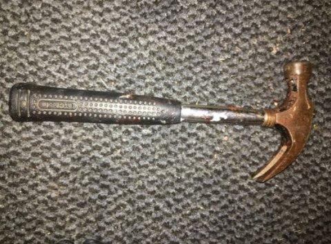 HAMMER: Ifølge politiet er dette hammeren som ble brukt for å slå i hjel hunden. Det ble gjort beslag i hammeren samme natt som politiet kom over mannen som slo hunden i hodet.