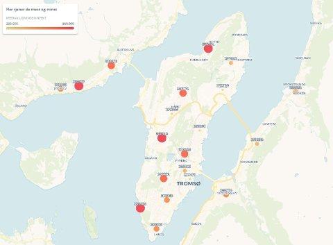 Kartet viser fordeling av inntekter i Tromsø.