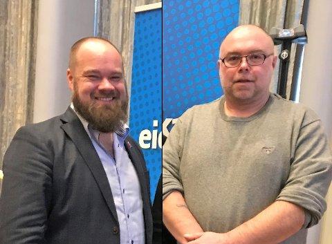 HANDEL OG BIL: Innlandet Frps Truls Gihlemoen (t.v) vil kutte avgifter på svenskehandelsvarer for å skape arbeidsplasser i Norge, mens Lars Rem fra Østre Toten Frp talte bilens sak på landsmøtet.