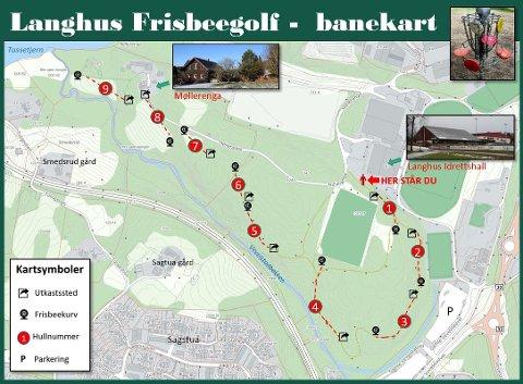 HER GÅR BANEN: Frisbeegolf-banen starter ved Langhushallen og følger lysløypa til Møllerenga.