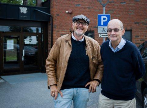 Magne Nylenna (til venstre) og Hans Erik Matre skal lede et folkemøte fra Ski nye kirke i forkant av valget.