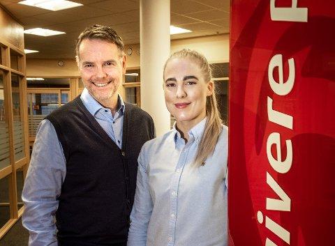 Direktør for personmarked i Helgeland Sparebank, Dag-Hugo Heimstad og ungdomsøkonom Kristin Gullesen (31).