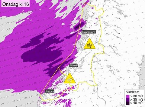 Dette værsystemet er på vei nordover, og bringer med seg fare for svært sterke vindkast.
