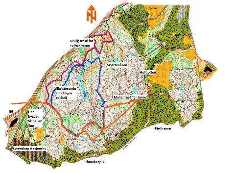 FAVNER ALT: I dette forslaget er rulleskiløype kombinert med turvei eller høystandard turvei. Ill.: Lørenskog kommune/RB