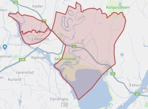 De innenfor det røde området skal være uten strøm ved 17.30-tida.