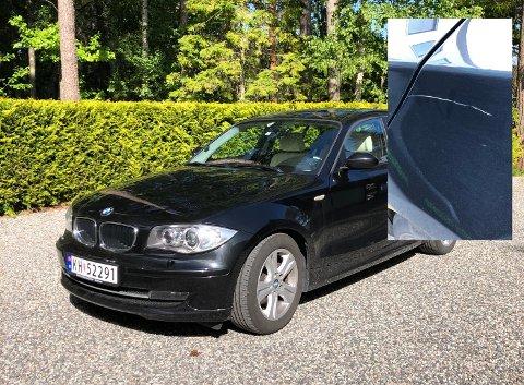 FIKK SKRAPT OPP BILEN: Bilen til Eli Ovnan fikk seg en dyp ripe i lakken utenfor Rema !000 i Sande.