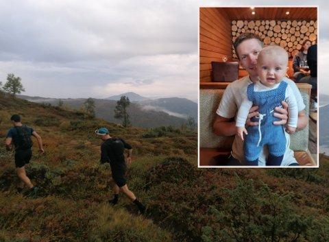 FEIRA SPORTSLEG BURSDAG: Då Øyvind Holsen Foss (innfelt, med sonen Viljar) fylte 32 år ville han at feiringa skulle vera litt utanom det vanlege. Den inneheldt blant anna springing på fjell.
