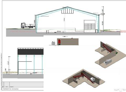 Øverst ser du en illustrasjon over mottakshallen og nederst er en illustrasjon over avfallskvernen.