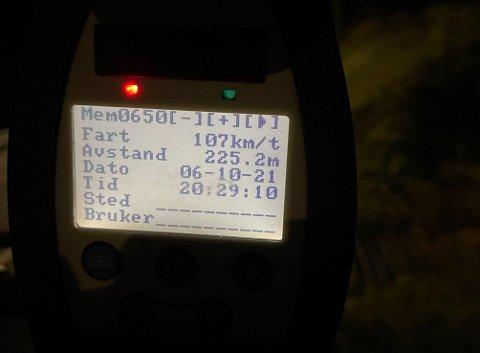 107 km/t var den høyeste hastigheten som ble målt under fartskontrollen i 60-sonen på E39 Bjerkeset onsdag kveld.