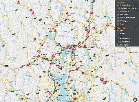 PLANLEGG REISEN: Med den nye ruteplanleggeren til Statens Vegvesen kan du enkelt planlegge ruten din slik at du slipper å havne i veiarbeidkø.