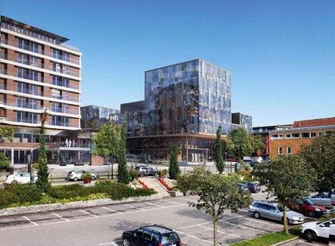 HØYHUS: Slik ser utbygger for seg det nye tinghuset i Nedre Langgate. Foto: Illustrasjon: LPO arkitekter as