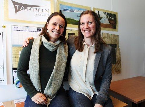 HEIER PÅ SOLCELLE: Marianne Svinsholt Smith (til høyre), rådgiver og kommunikasjonsansvarlig i Silicia, har trua på Tarpon Solar, gründerbedriften til Marianne Hernes.