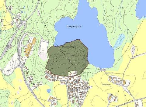 Musemsskogen: Et område tilknyttet Follo Musum, som ligger sør for Oppegårdstjernet er pantsatt.Kart: Follokart