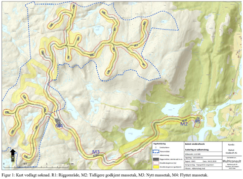 MED ENDRINGER: Kart vedlagt søknad. R1: Riggområde, M2: Tidligere godkjent massetak, M3: Nytt massetak, M4: Flyttet massetak.