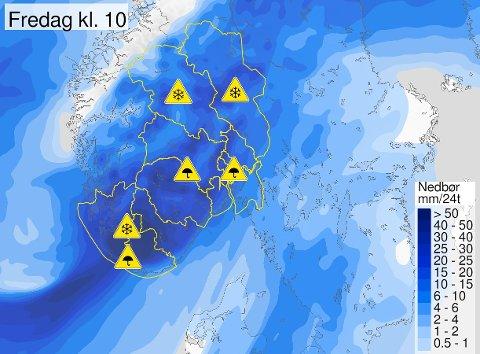 Det er ventet store nedbørsmengder over Oslo torsdag ettermiddag og kveld.