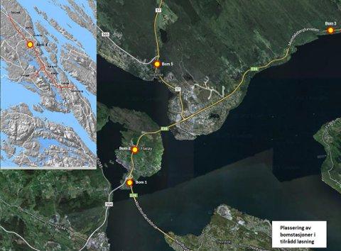 Fem bomstasjonar skal krevje inn pengar til Nordhordlandspakken frå 1. desember i år. No krev Nils Marton Aadland at ein eventuell ny bomstasjon på E39 ved Nordhordlandsbrua på bergenssida må finansiere Nordhordlandspakken.