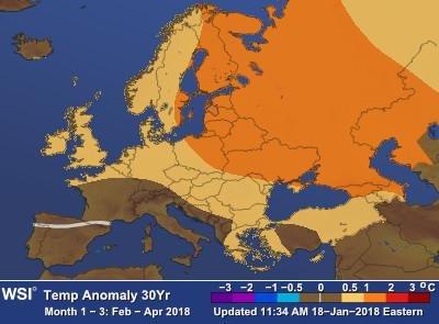 Amerikanske The Weather Company mener våren blir noe varmere enn normalt i Norden.