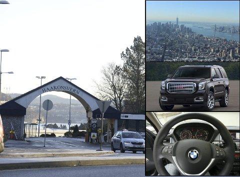 Reiser til USA, en GMC Yukon, en BMW X5 – lik de som er avbildet – er noe av det som ble investert gjennom utroskap og hvitvasking, ifølge tiltalen. FOTO: Magne Turøy/arkiv